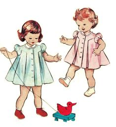 Butterick+6609+Vintage+50s+Toddler+DRESS+Puff+Sleeves,+Inverted+Pleat,+Front+Button+Sewing+Pattern
