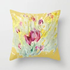 Marigold pillow with pink abstract floral pops | StudioRS Designs