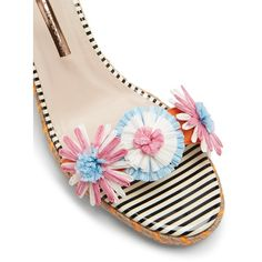 Sophia Webster Lucita raffia-flower wedge espadrilles (38075 RSD) ❤ liked on Polyvore featuring shoes, sandals, embellished wedge sandals, strappy wedge sandals, espadrille wedge sandals, strap sandals and woven sandals