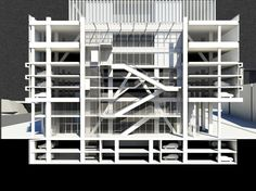 "Rem Koolhaas' studio OMA has completed its colossal De Rotterdam ""vertical city"" in Rotterdam, the Netherlands. Rotterdam, Space Architecture, Architecture Drawings, Architecture Models, Atrium, Vertical City, Section Drawing, Building Section, Rem Koolhaas"