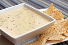 Queso Blanco made with jalapenos, monterrey jack cheese, heavy cream, cilantro and other yummy ingredients.  I don 't think I want to share.