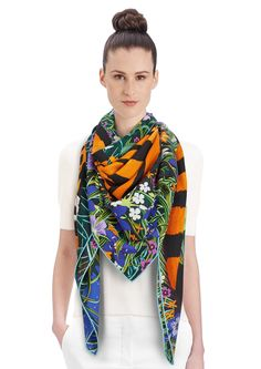"2015 FW   Tyger Tyger   Cashmere and silk shawl, 55"" x 55"" (70% cashmere, 30% silk)   Alice Shirley   Ref: 242958S 13 Bleu/Vert/Roux   US$1,100"