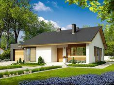 EX 11 (wersja C) soft - projekt domu - Archipelag Modern Barn House, Modern Bungalow House, Simple House Plans, Family House Plans, Building Facade, Building A House, Rest House, House Viewing, Small House Design