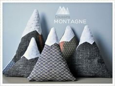 Mountain pillows, for japanese nursery, Fuji, Himeji, etc.