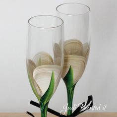 50th Anniversary Champagne toasting flutes in a by JudiPaintedit