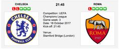 Chelsea v AS Roma predictions for their UEFA Champions League - Group G match at the Stamford Bridge (London) on Wednesday 18th October 2017. Chelsea v AS Roma Match Date: 18th October 2017 (local time) Venue: Stamford Bridge (London)