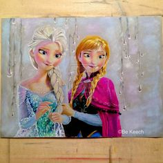 My finish artwork of Elsa and Anna from Disney Frozen. It done in prismacolor colored pencils with gray tones paper.