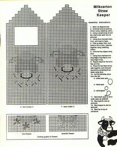 Milk carton straw keeper Plastic Canvas Crafts, Plastic Canvas Patterns, Box Top Container, Straw Holder, Needlepoint Stitches, Canister Sets, Canisters, Homemade Gifts, Projects To Try