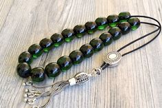 Emerald color Komboloi, Bakelite Beads, 925 Silver Tassel, Worry Beads, Greek Komboloi, Stress Relief, Made in Greece, Tesbih, Free Shipping Islamic Gifts, Islamic Prayer, Gifts For Friends, Gifts For Her, 925 Silver, Sterling Silver, Emerald Color, Prayer Beads, Stress Relief