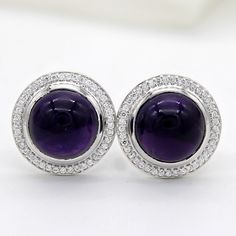 925 Silver 4.7ct Amethyst /& CZ Square Halo Leverback Earrings