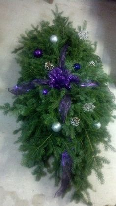6 ft grave blanket in purple - I am Gina Casket Flowers, Grave Flowers, Cemetery Flowers, Funeral Flowers, Christmas Flowers, Christmas Wreaths, Christmas Decorations, Christmas Holiday, Christmas Ideas