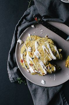 These savory pancakes are topped with a roasted garlic whip made out of Greek yogurt.#breakfastrecipes #brunchrecipes #breakfastideas #brunchideas Savoury Pancake Recipe, Savory Pancakes, Best Brunch Recipes, Healthy Breakfast Recipes, Baking Power, The Breakfast Club, Roasted Garlic, Greek Yogurt, Goodies