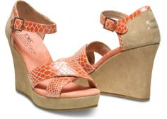 TOMS+ Coral Serpentine Strappy Wedge | TOMS.com
