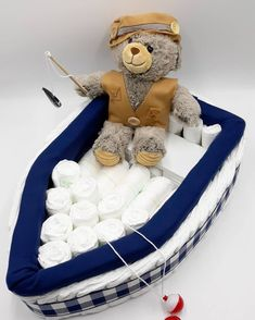Fishing Bear and Boat – Boat Diaper Cake – Fishing Baby Shower – Baby Shower Gift – Unique Diaper Cake – Nautical Baby Shower - myeasyidea sites Boat Diaper Cake, Nautical Diaper Cakes, Unique Diaper Cakes, Nautical Baby, Boat Cake, Nappy Cakes, Baby Girl Shower Themes, Baby Shower Party Supplies, Baby Shower Cakes
