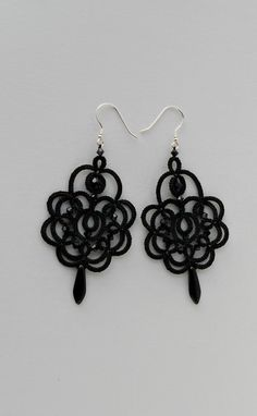 Black lace earrings black earrings with by TattingLaceJewellery