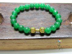Green Jade Dumbbell Bracelet Heart Chakra Bracelet Yoga Meditation Mala Green Jade Fitness Mala Healing Good Luck Green Jade Mala Unisex