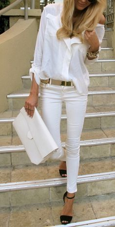all white outfit with black heels