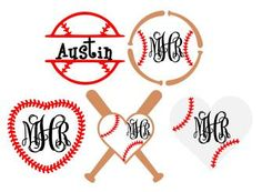 Baseball Monogram Frames: SVG, Studio 3, DXF, AI, Ps and Pdf Cutting Files for…