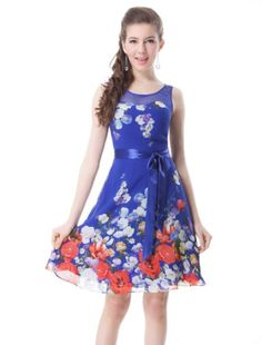 HE03692SB08, Sapphire Blue, 6US, Ever Pretty Floral Printed Round Neckline Bow Padded Short Cocktail Dress 03692