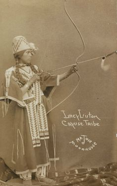 A photograph of Lacy Luton of the Cayuse Indian Tribe, a performer, by Major Moorhouse