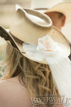 Western themed brides hat www.MarriageIsland.com  (210) 667-6503 All Inclusive San Antonio Riverwalk Weddings.