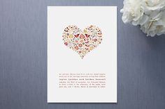my invitation, red, colorful, scandinavian folk art inspired, hearts