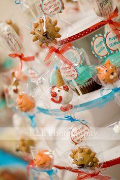 circus cake pops (clown, lion, tiger, popcorn)