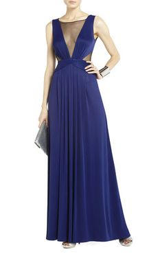 Magdalena Draped Jersey Evening Gown, BCBG