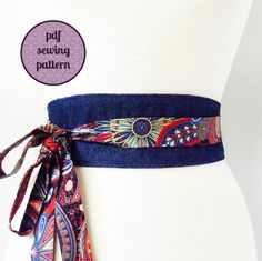 reversible obi style wrap belt - sewing pattern at Makerist - Image 1 Cinto Obi, Diy Belts, Obi Belt, Creation Couture, Sewing Projects For Beginners, Sewing Hacks, Sewing Tips, Pdf Sewing Patterns, Diy Clothes