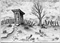 Aceo/art Print Of Outhouse Bird Pencil Drawing By Judith Bosch