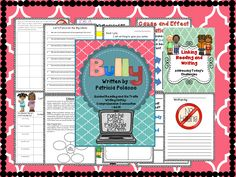 The book deals with bullying/cyber bullying, cliques, internet safety, and welcoming new students to school. I have included before, during, and after reading activities to develop schema, vocabulary, comprehension skills including cause/effect relationships, making connections, story elements, summarizing, character traits, questioning, and writing skills for writing a persuasive essay focused on the Six Traits.