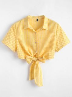 Tie Front Gingham Top - YELLOW XL