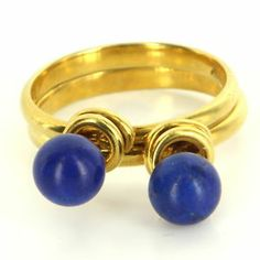 Estate 14 Karat Yellow Gold Lapis Lazuli Stack Rings Fine Jewelry Pre-Owned Used $495