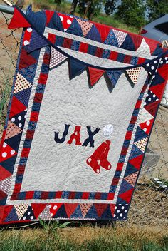 750f22c8eff859 Adorable baby quilt for a new little Red Sox fan Baseball Baby Blanket
