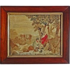 Antique Canvaswork / Needlework Picture Pastoral Group Framed - c. Needlepoint Kits, Victoria And Albert Museum, Are You Happy, Egyptian, 19th Century, Needlework, Cross Stitch, Textiles, Couture