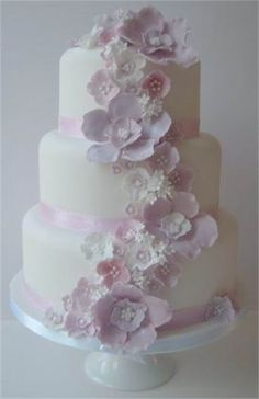 Three Tiered Blossom Cascade Wedding Cake - The Winchester Cake Parlour