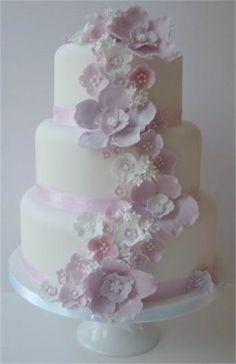 Three Tiered Blossom Cascade Wedding Cake - The Winchester Cake Parlour