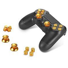 metallknappar+abxy+knappar+++thumbsticks+tumgrepp+och+krom+d-pad+för+Sony+PS4+Dualshock+4+controller+mod+kit+–+SEK+Kr.+118