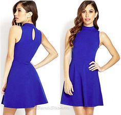 New Forever 21 Retro Skater Fit And Flare Dress Classic Royal Blue Free Shipping