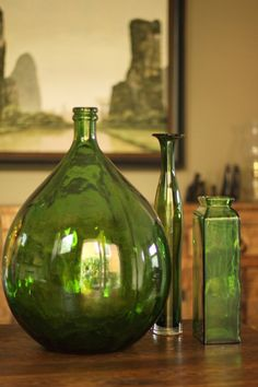 Green Demijohn and glass vases Vintage Bottles, Bottles And Jars, Glass Bottles, Green Life, Green Colors, Colours, Green And Brown, Shades Of Green, My Favorite Color