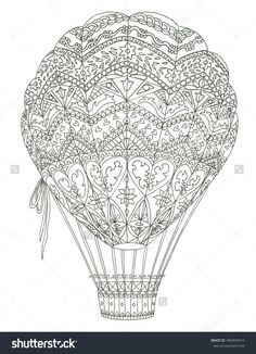 Hand Drawn Doodle Outline Air Balloon In Flight Decorated With