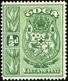 "Tonga 1934 Scott 39 ½p green ""Coat of Arms"""