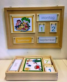 Learning stimulus according to Montessori, assigning lids Montessori Toddler, Montessori Activities, Kindergarten Activities, Wooden Calendar, Diy Calendar, Home Daycare, Classroom Inspiration, Learning Centers, First Day Of School