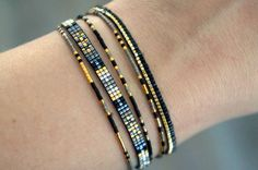 Set of 5 Miyuki beaded bracelets handmade Gold by YRSarmcandy
