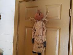 Primitive Grungy Fall Halloween Pumpkin Doll~~~~EAAM~~~~ #NaivePrimitive