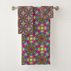 Gold Miner Vintage Kaleidoscope  Bath Towel Set - cool gift idea unique present special diy