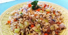 Tom's 'Fried' Rice - shopping list: carrot, onion, celery brown rice, (sprouted aduki beans), tamari, parsley or scallions - Meg Wolff at forksoverknives.com