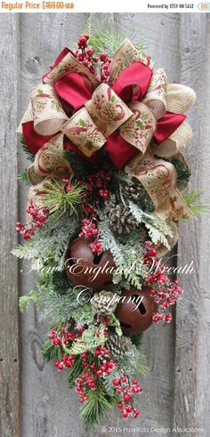 ON SALE Christmas Swag Holiday Wreath Frosted by NewEnglandWreath