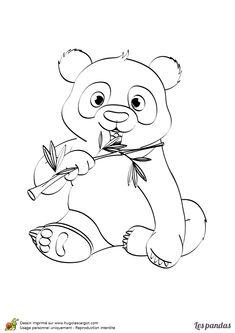 Coloriage d'un mignon petit panda qui mange du bambou.