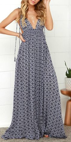 Printed deep v maxi dress